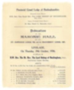 The original dedication minutes at the Masonic hall at Linslade, Buckinghamshire