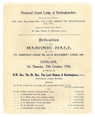 The original dedication minutes at the Masonic hall at Linslade, Buckinghamshire