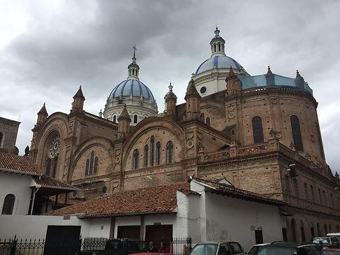 Cathedral de la Inmaculada on a cloudy day in Cuenca, Ecuador