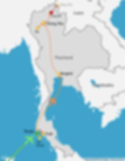 a travel map of Thailand