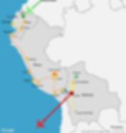 2 month itinerary map of a travel route through South America (Ecuador, Peru, Bolivia)