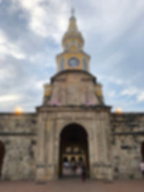 A main town square clock tower in the Old Town of Cartagena Colombia