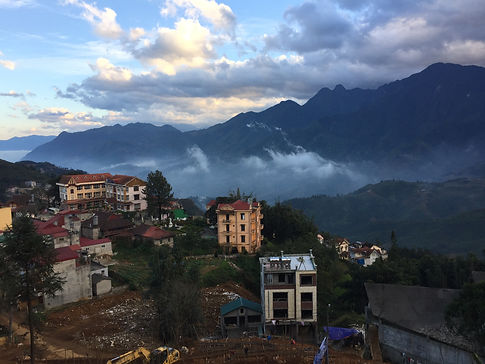 Houses and mountains in the village of Sapa in Northern Vietnam