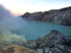 Crater Lake at Indonesia's Ijen Crater (Kawa Ijen) in Java near Banyuwangi