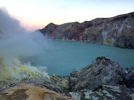 Crater Lake at Indonesia's Ijen Crater (Kawa Ijen) in Java near Banyuwangi