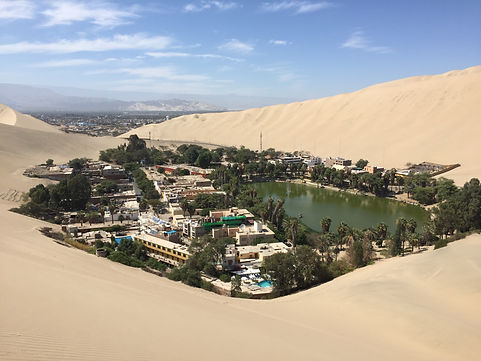 the oasis town of Huacachina in the desert of Peru