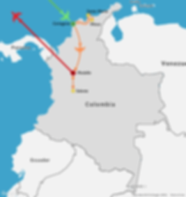 2 week itinerary map of a travel route through Colombia
