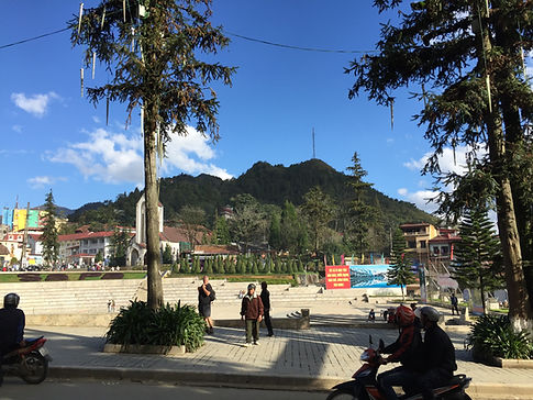A sunny day in the main plaza of Sapa Vietnam