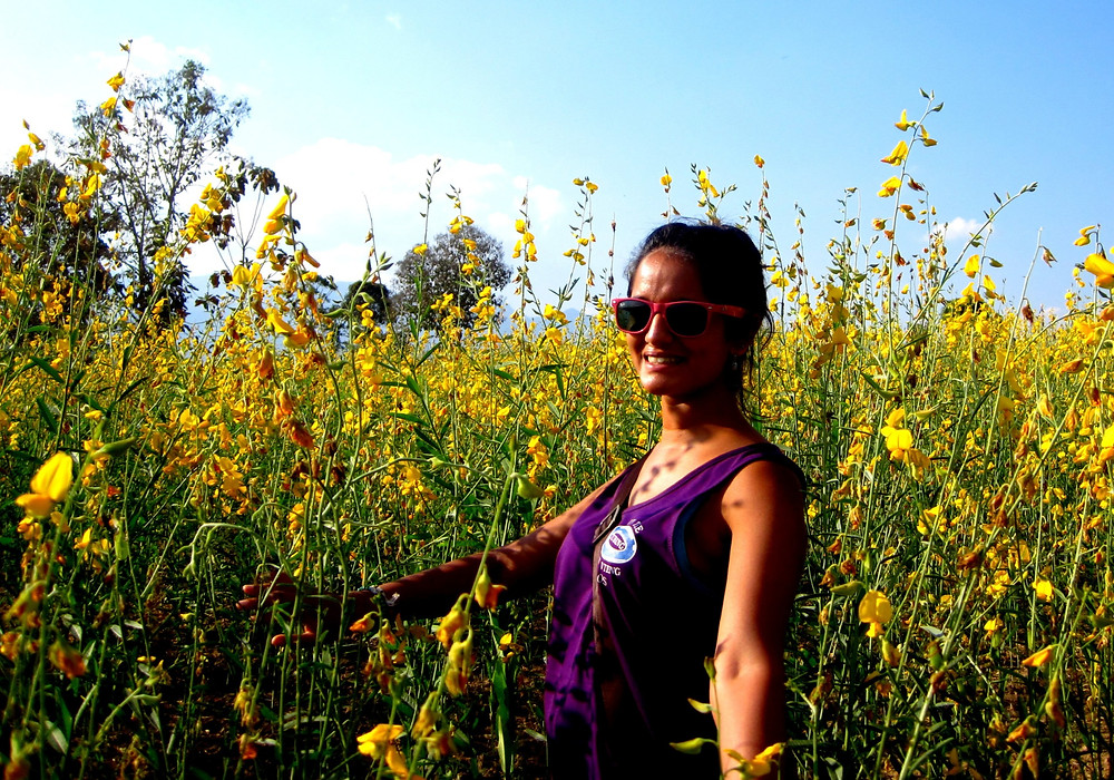 a female solo traveler posing for a picture in front of a field of sun flowers