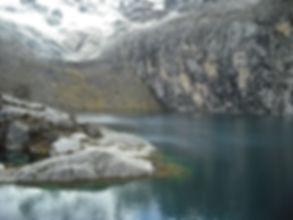 Lake and glacier on the Laguna 69 Trek in Huaraz