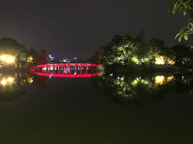 the bridge on Hoan Kiem Lake at night in Hanoi Vietnam