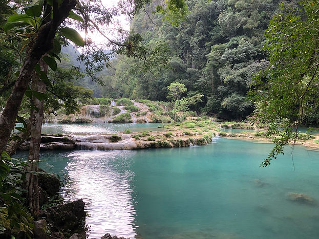 blue tide pools at Semuc Champey in the jungles of Guatemala