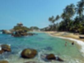 A crystal clear beach in Parque Tayrona National Park in Santa Marta, Colombia