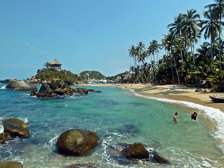 A crystal clear beach in Parque Tayrona National Park in Santa Marta, Colombia