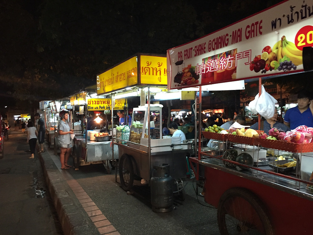 The dinner rush at Chiang Mai's night market in Thailand