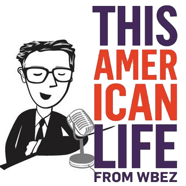 This American Life logo from NPR public radio featuring a drawing of Ira Glass