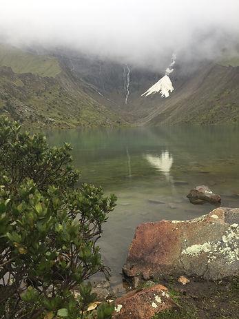 Humantay Lake overlooking a glacier in Cusco on the Salkantay Trek