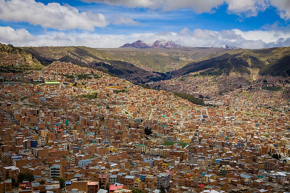 a panoramic view of La Paz, Bolivia from the metrocable