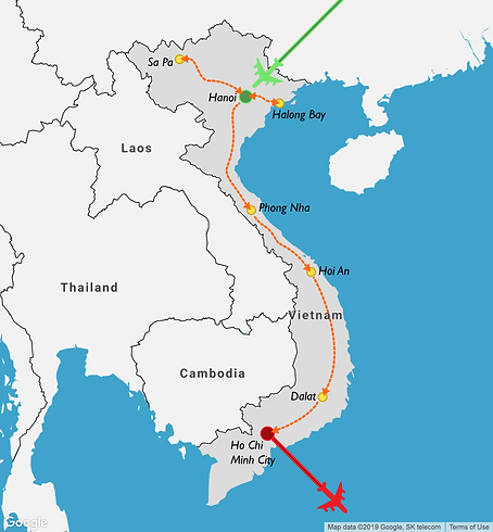 2 week itinerary map of a travel route through Vietnam