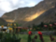Sunset from the oasis at the bottom of the Colca Canyon near Arequipa Peru