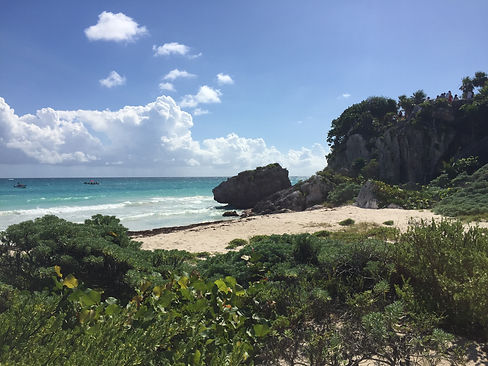 a beach in Tulum next to the ruins in Mexico's Riviera Maya
