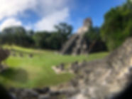 a fisheye lens view of the Tikal Ruins in Guatmala near Flores