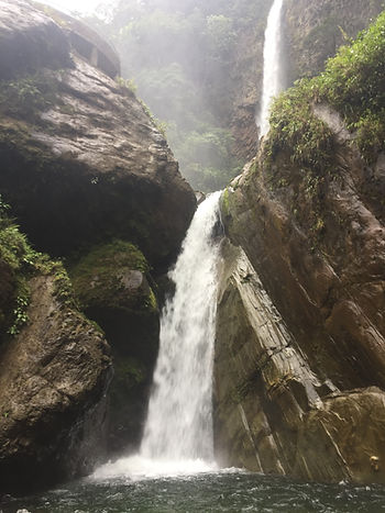 Machay Waterfall, the last of the 7 waterfalls to cycle to in Banos, Ecuador