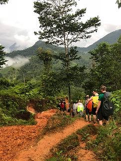 Hikers trekking to the Lost City Trek or Cuidad Perdida Hike in Santa Marta Colombia