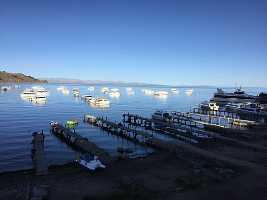 the docks in Puno, Peru overlooking Lake Titicaca
