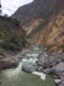 Colca River snaking through Colca Canyon near Arequipa Peru