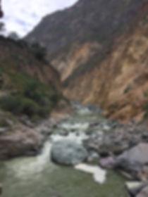 Colca River snaking through Colca Canyon, near Arequipa Peru