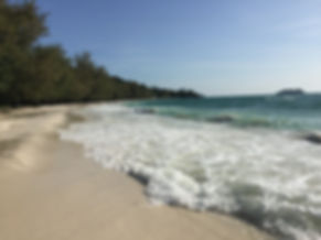 a white sand beach on the paradise isand of Koh Rong in Cambodia