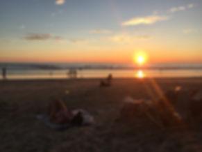sunset on the beach in Montanita, Ecuador