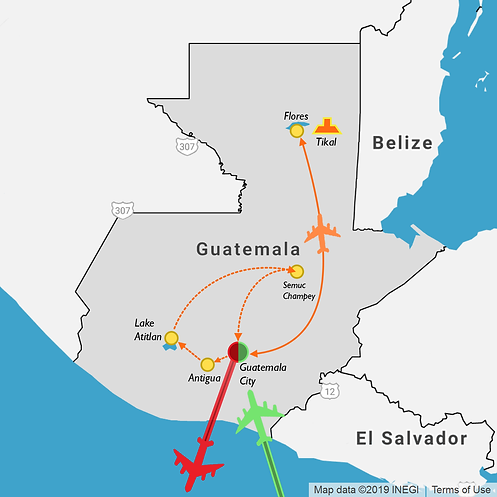 2 week itinerary map of a travel route through Guatemala