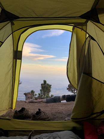 a hikers tent during the Acatenango Volcano hike near Antigua Guatemala