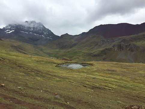 A cloudy day on the Rainbow Mountain Trek in Cusco Peru