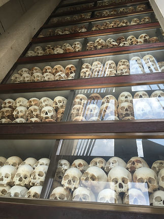 Skulls of victims of Cambodian Genocide at the Killing Fields in Phnom Penh in Cambodia