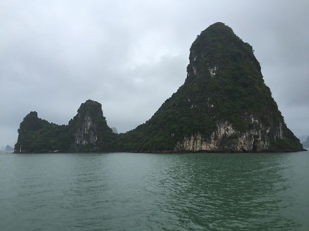 A cloudy day on Halong Bay in Vietnam