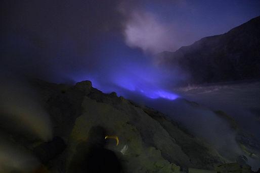 Blue fire at Indonesia's Ijen Crater (Kawa Ijen) in Java near Banyuwangi
