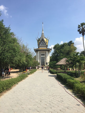 the big buiding in the center of the Killing Fields in Phnom Penh Cambodia