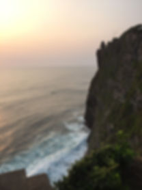 the sea cliffs at Uluwatu Temple in Bali, Indonesia