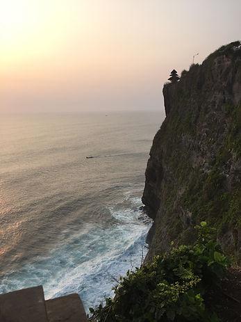 the sea cliffs at Uluwatu Temple in Bali, Indonesia
