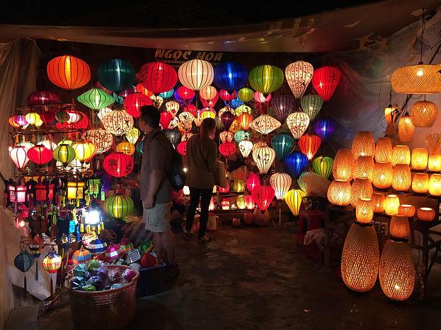 the colorful Lantern Market atnight in Hoi An Vietnam
