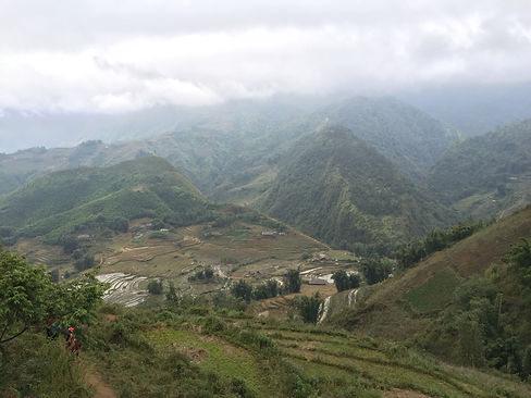 a panoramic view of the rice terraces and mountains of Sapa Vietnam