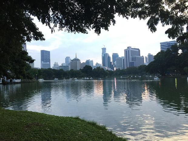 a pond at Lumpini Park in Bangkok, Thailand