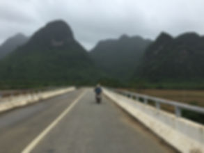 Scootering through Phong Nha National Park on a cloudy day in Vietnam