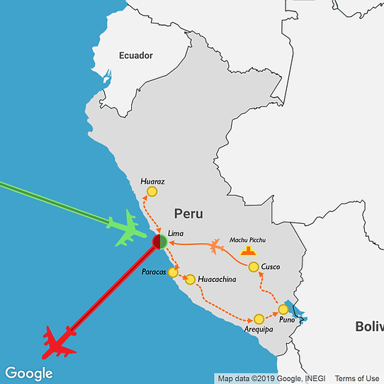 1 month itinerary map of a travel route through Peru