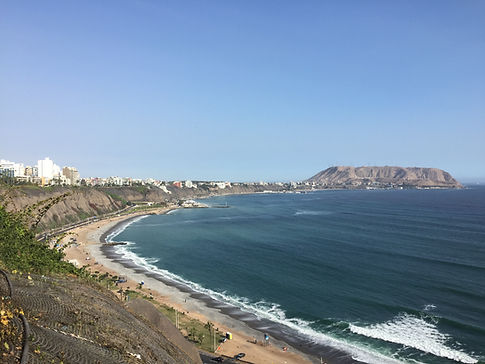 The view from the sea cliffs overlooking the coast of Lima, Peru