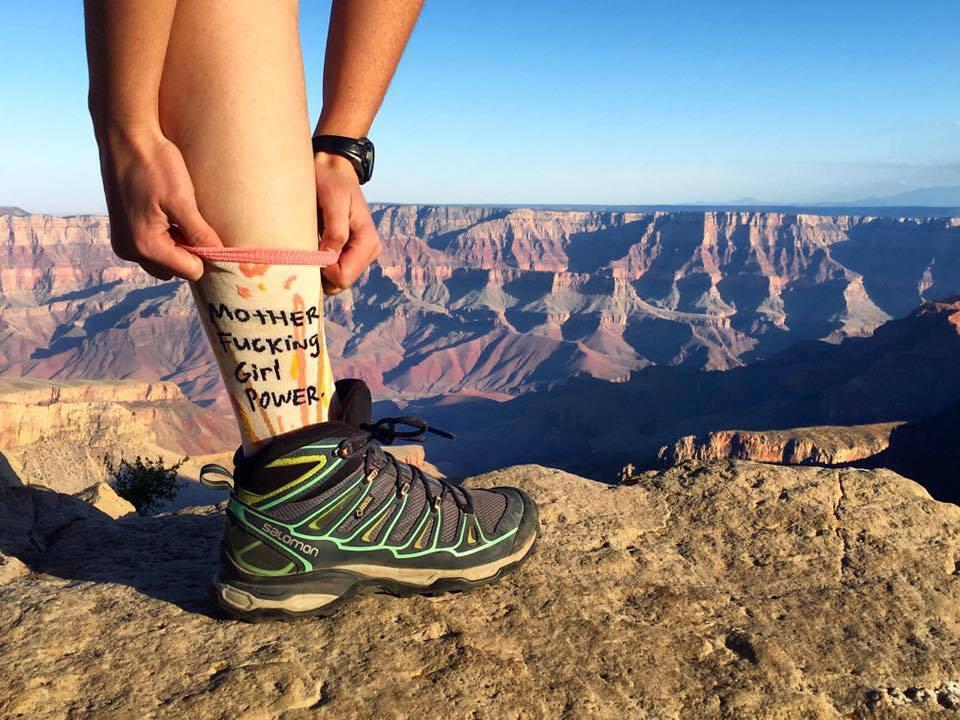 mother fucking girl power socks on a female traveler in the American desert