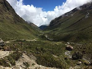 A valley in hills of the Cusco region of Peru